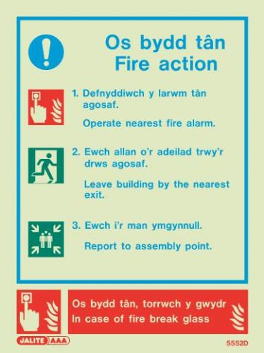 (5552DR) Jalite Welsh Fire Action Notice Sign Os bydd tan